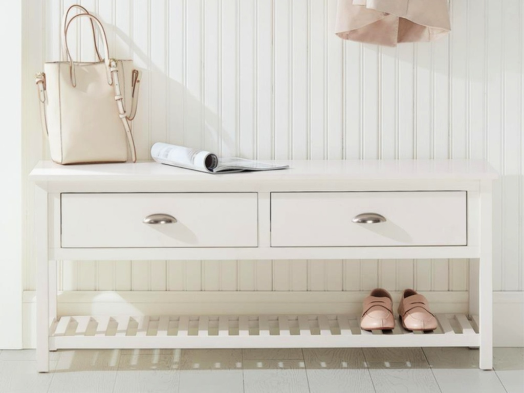 StyleWell White Wood Entryway Bench with 2 Drawers