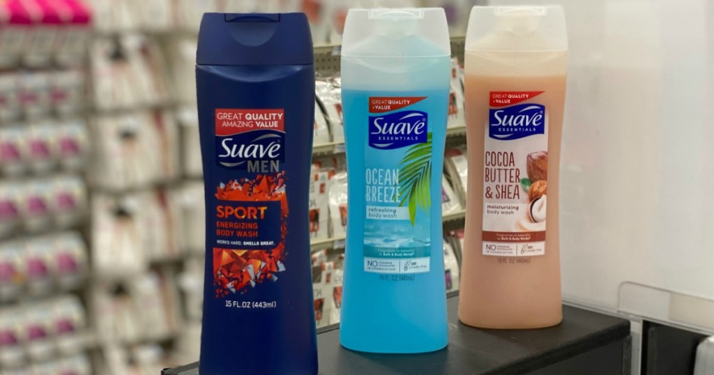 Suave Body washes on counter at CVS