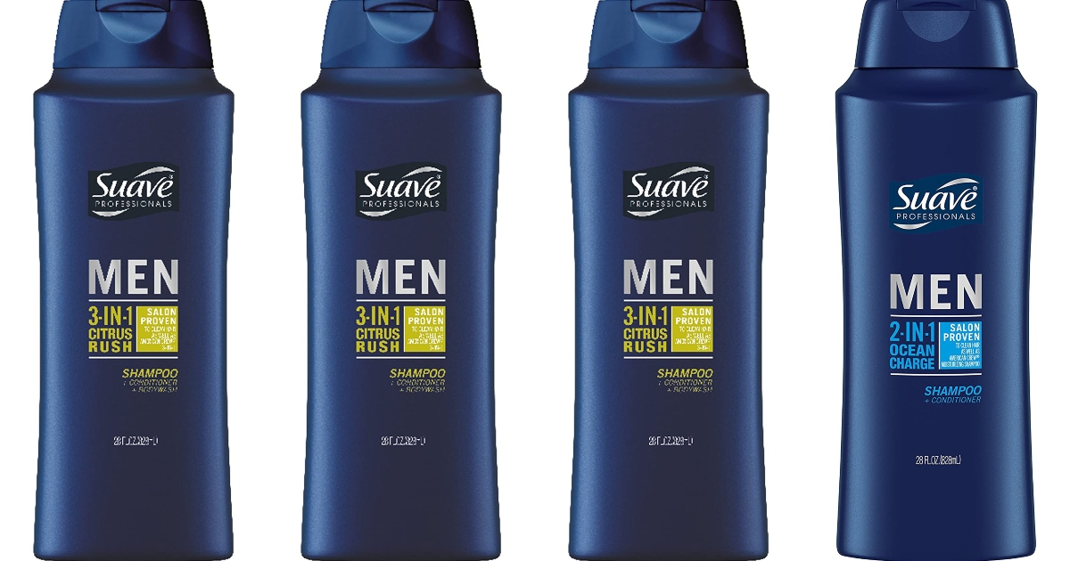 four bottles of Men's suave body wash