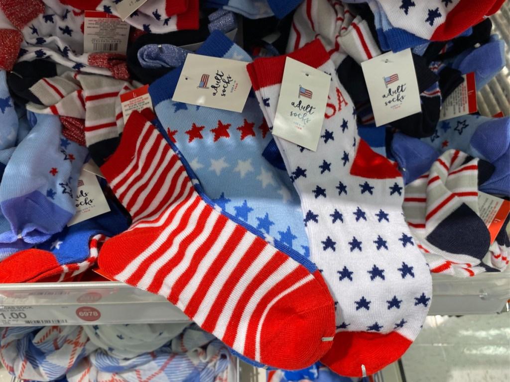 American adult socks on store shelf