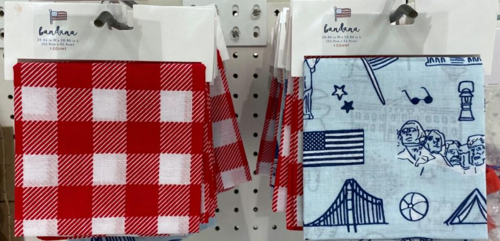 Americana bandanas hanging in store