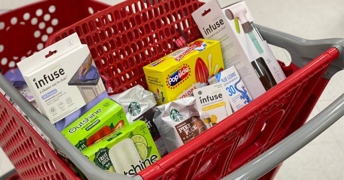 target cart with groceries and cleaning products