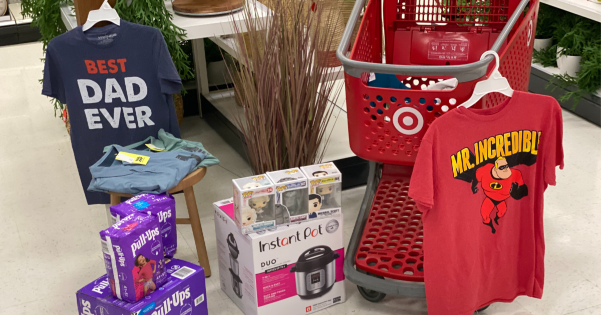target cart with dad tees, pull ups, instant pot, funko pops