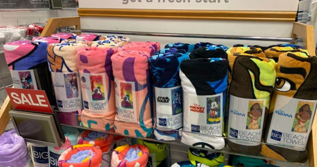 display of rolled beach towels