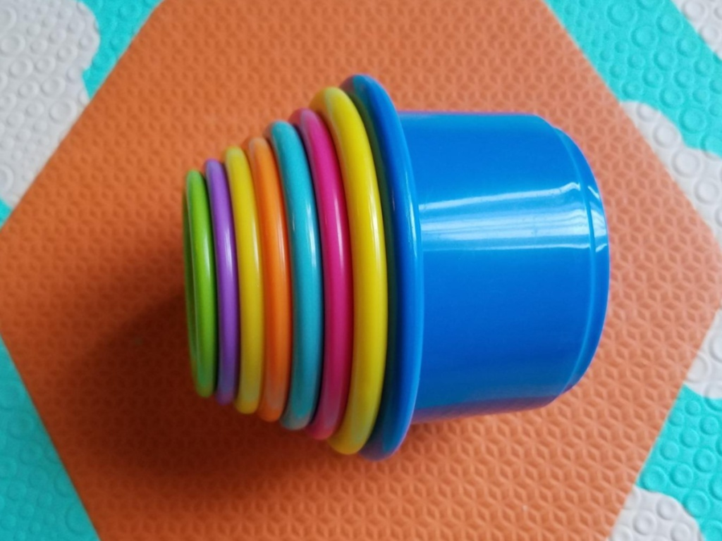 multi-colored stacking cups for babies