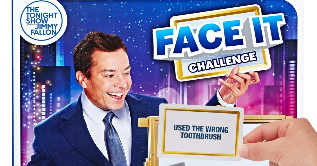 Jimmy Fallon on game box for face it challenge