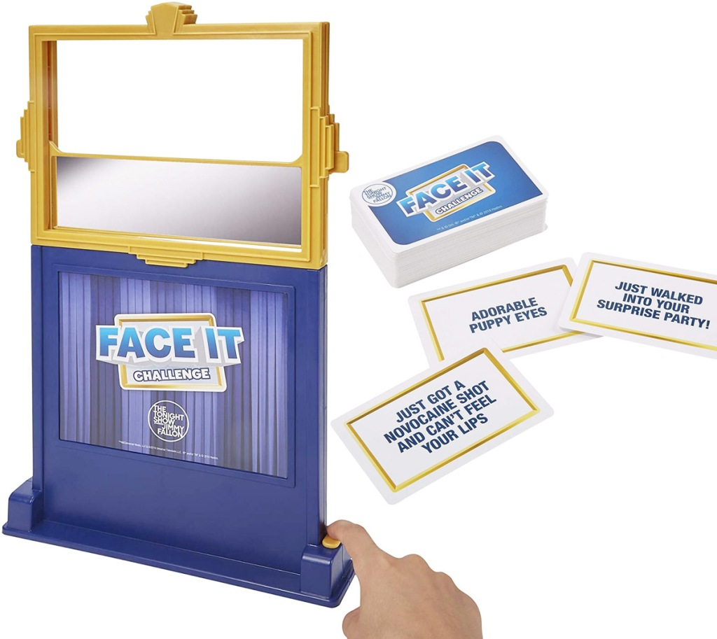 blue and yellow double sided mirror and game playing cards