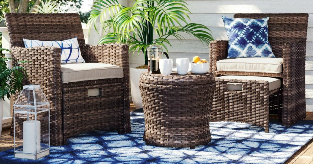 patio set with two chairs and small table