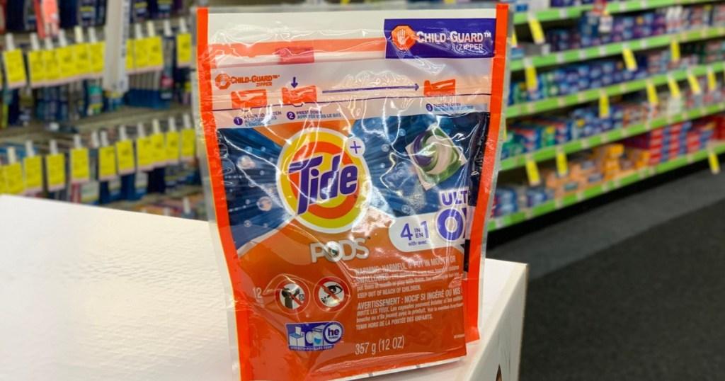 tide pods on a shelf in-store cvs