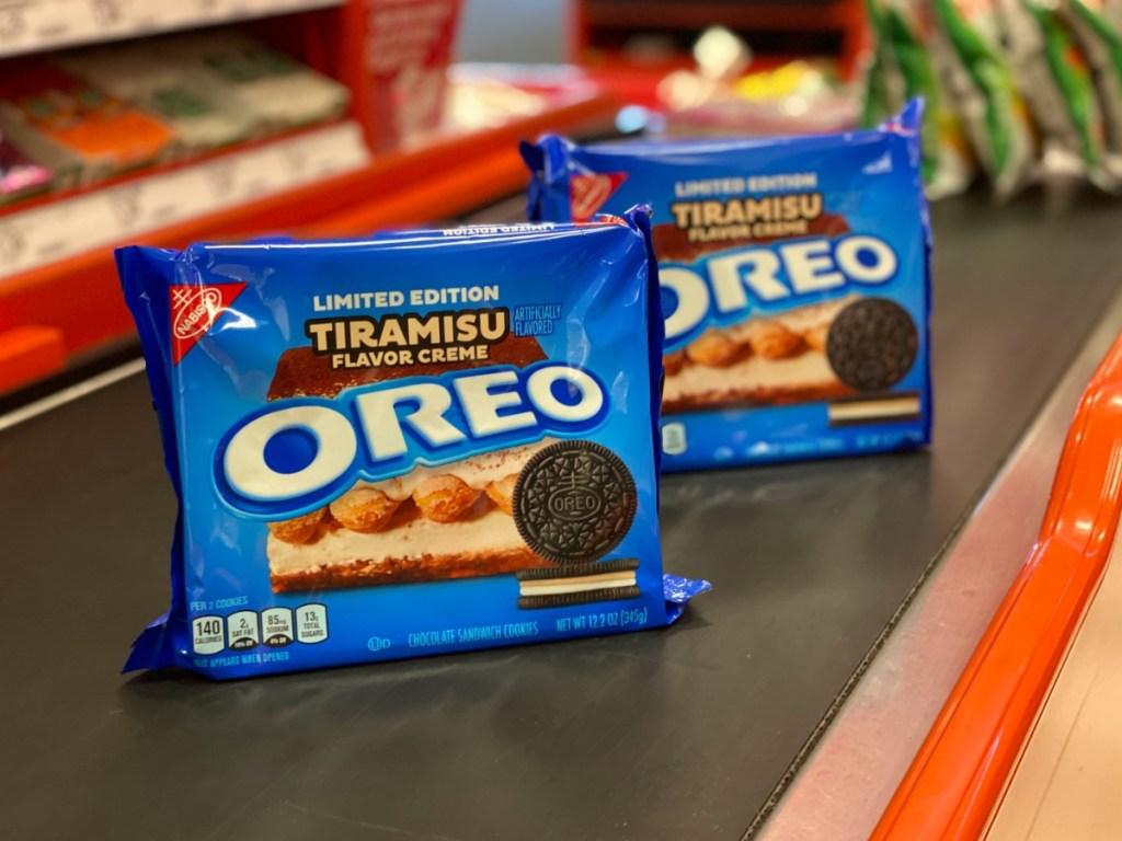 Boxes of Tiramisu Oreo Cookies in Target checkout lane