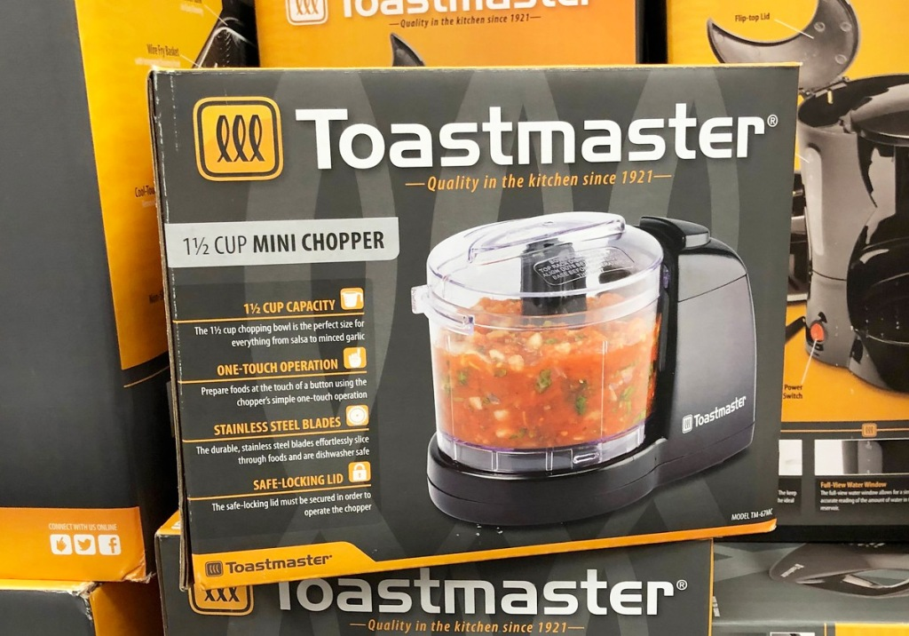 black box for the toastmaster mini chopper with salsa ingredients inside