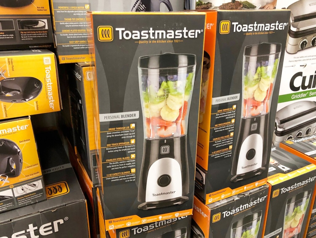 two black and yellow boxes for toastmaster personal blenders