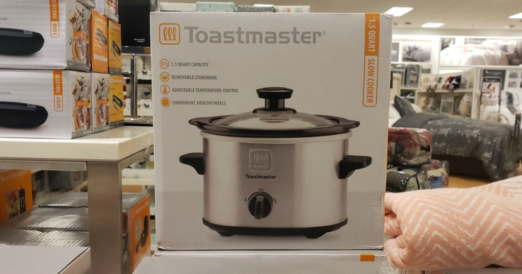 box of stainless steel Toastmaster cooker on shelf in store