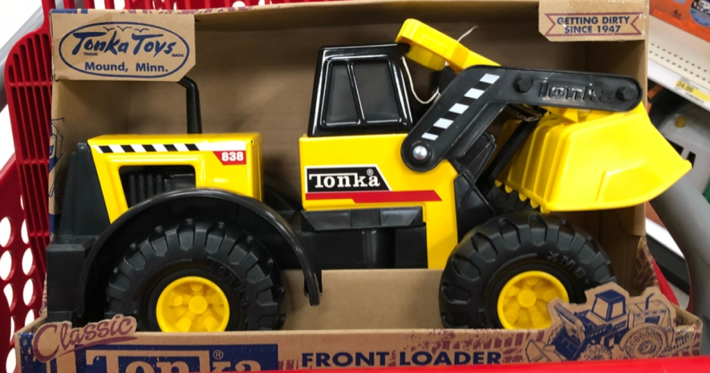 Tonka Classic Steel Front Loader in shopping cart basket