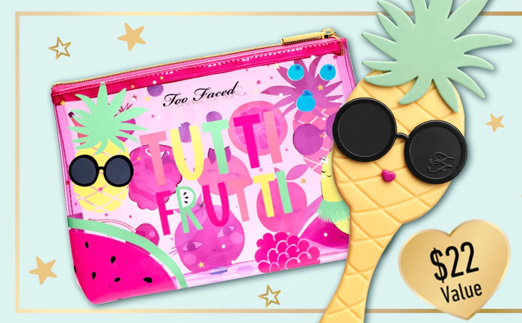 pine cosmetic bag that says tutti fruity on it and a pineapple shaped hand mirror wearing sunglasses