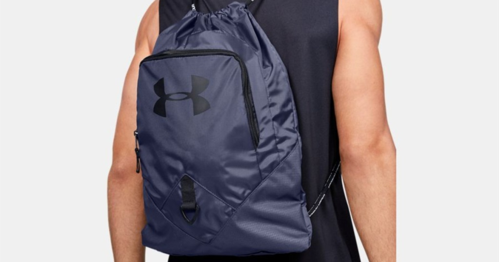 UA undeniable sackpack on guy in muscle tee