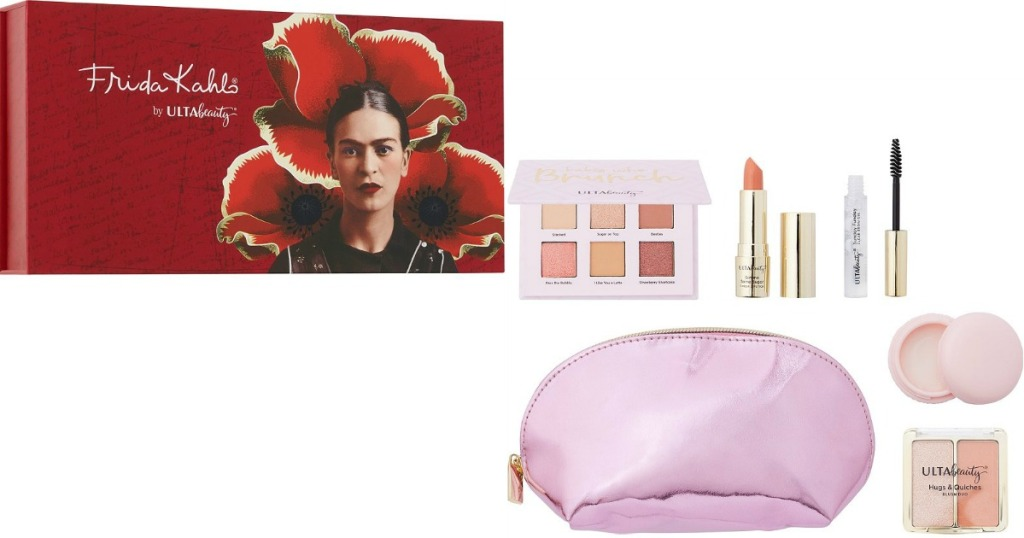ULTA Beauty Frida Kahlo palette next to bag with cosmetics