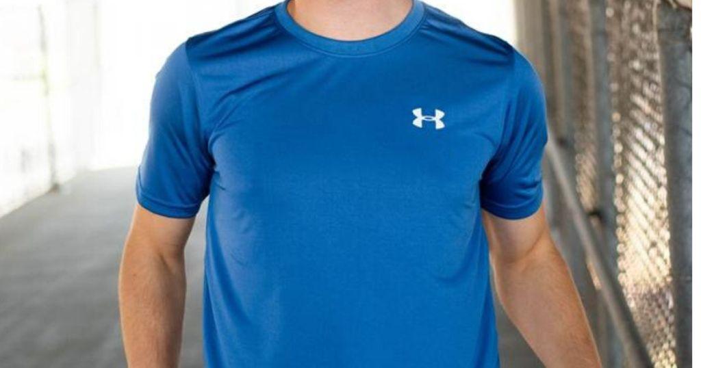 man wearing an under armour shirt