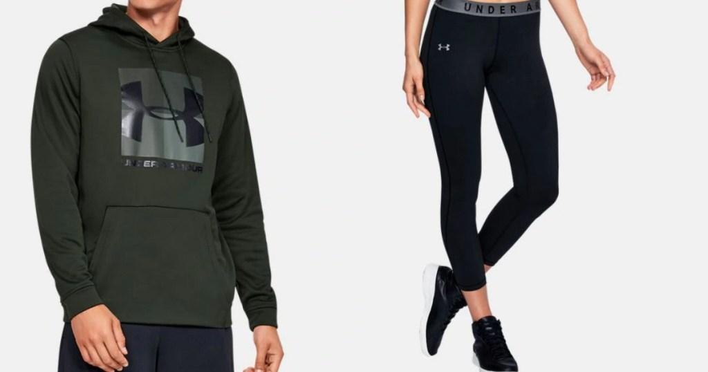 model wearing a sweatshirt next to woman wearing leggings