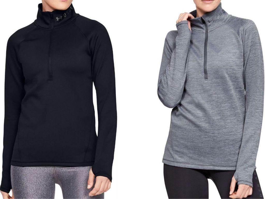 two women wearing long sleeve quarter zip