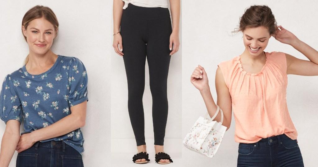lauren conrad apparel balloon sleeve top, leggings, top