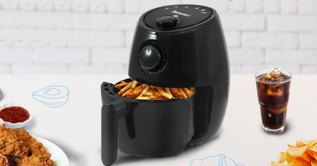 elite air fryer with french fries inside