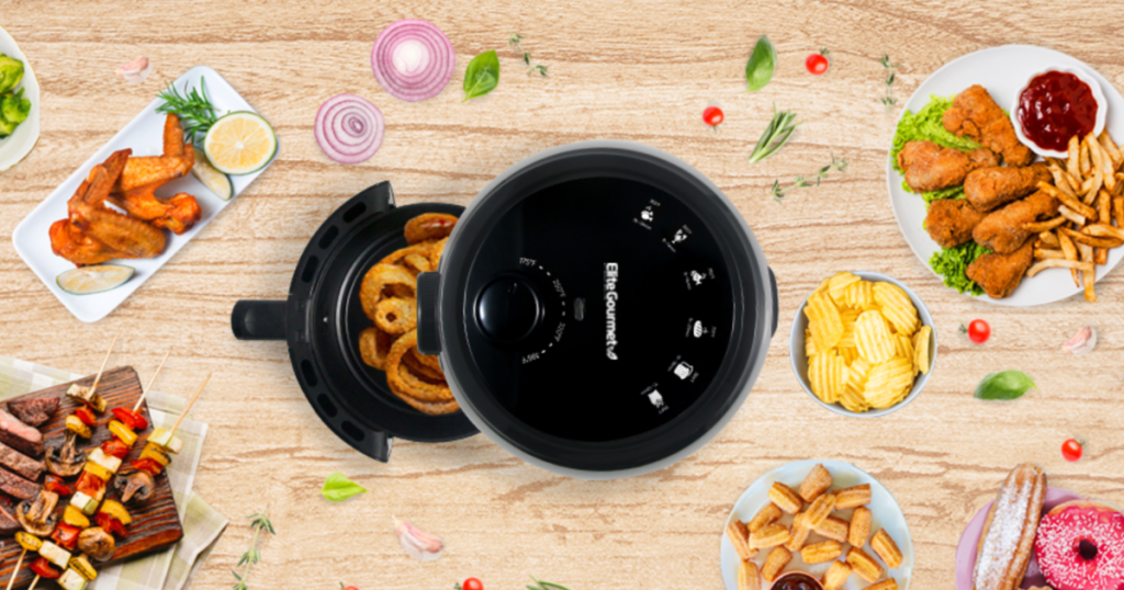 elite air fryer with food all around it