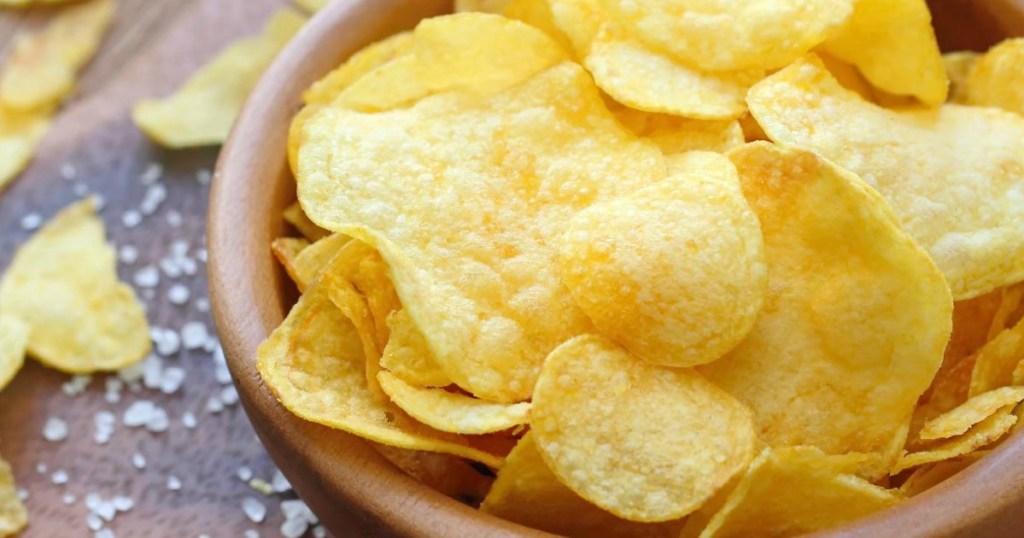 Bowl of regular salted potato chips