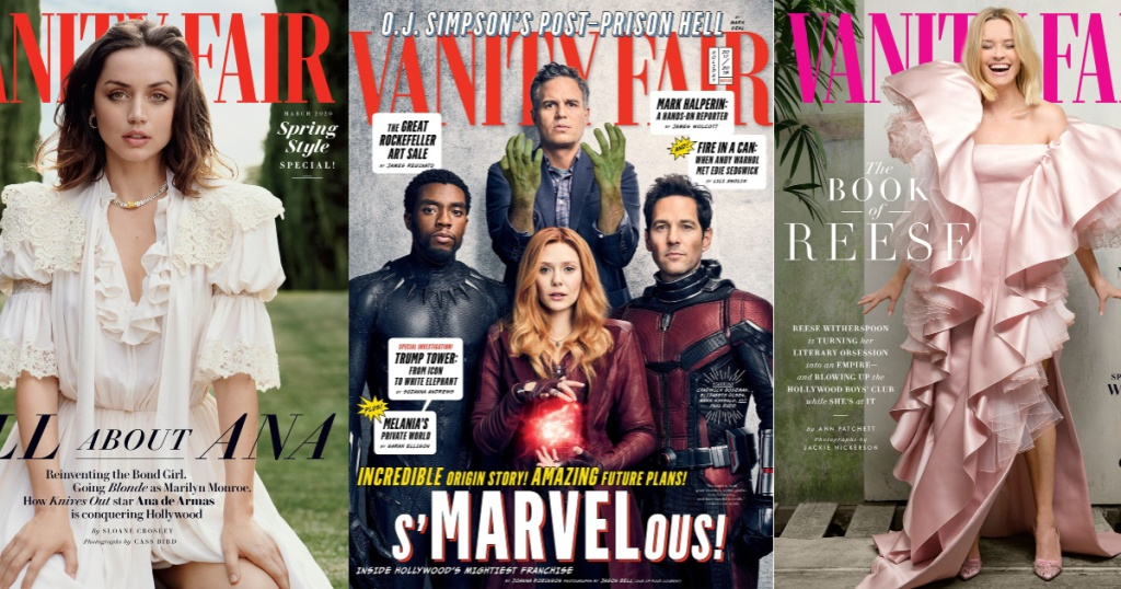 3 vanity fair magazine covers sitting side by side