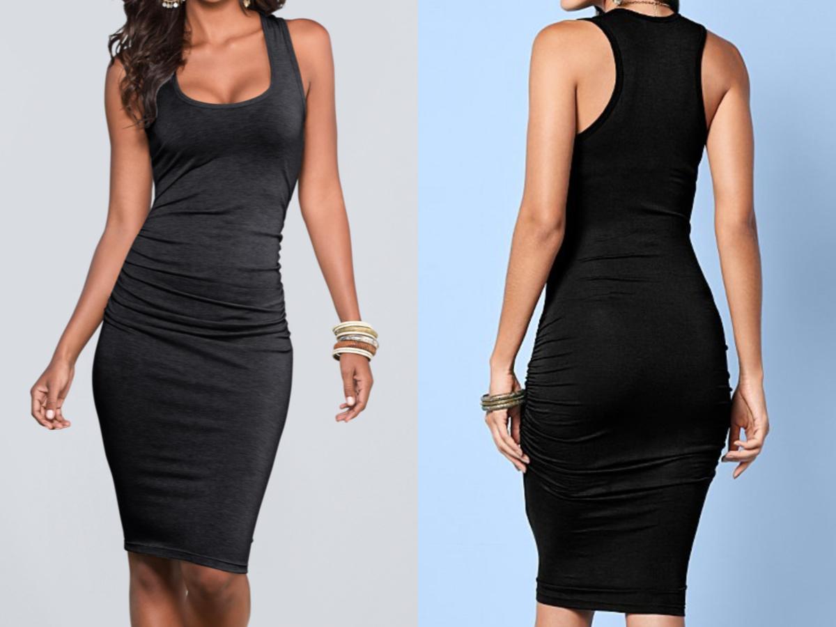 two women in black bodycon dress