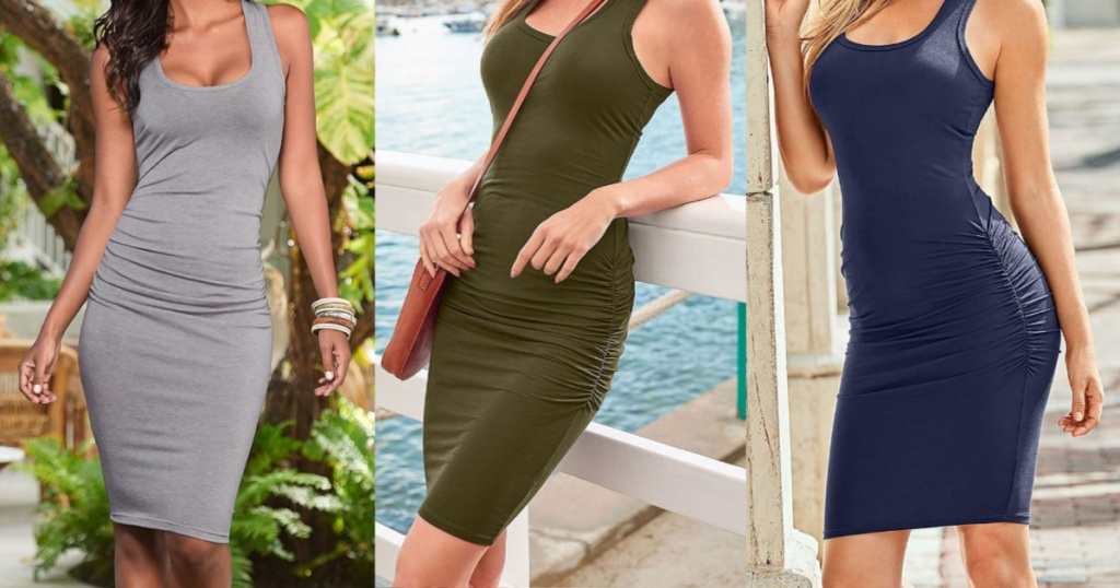 woman in gray bodycon dress standing outside, woman in green bodycon dress leaning against white railing with water in background, and woman in navy bodycon dress leaning against wall outside