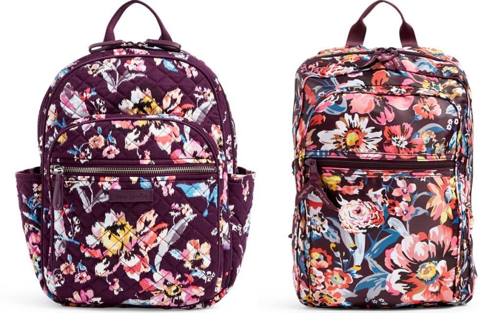 tqo maroon colored floral print backpacks