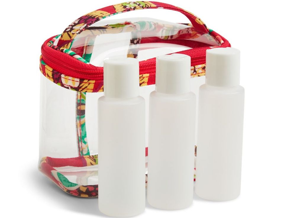 floral and clear travel bag with plastic bottles