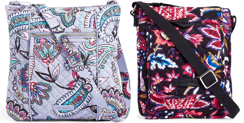 two floral print crossbody bags in light purple and maroon colors