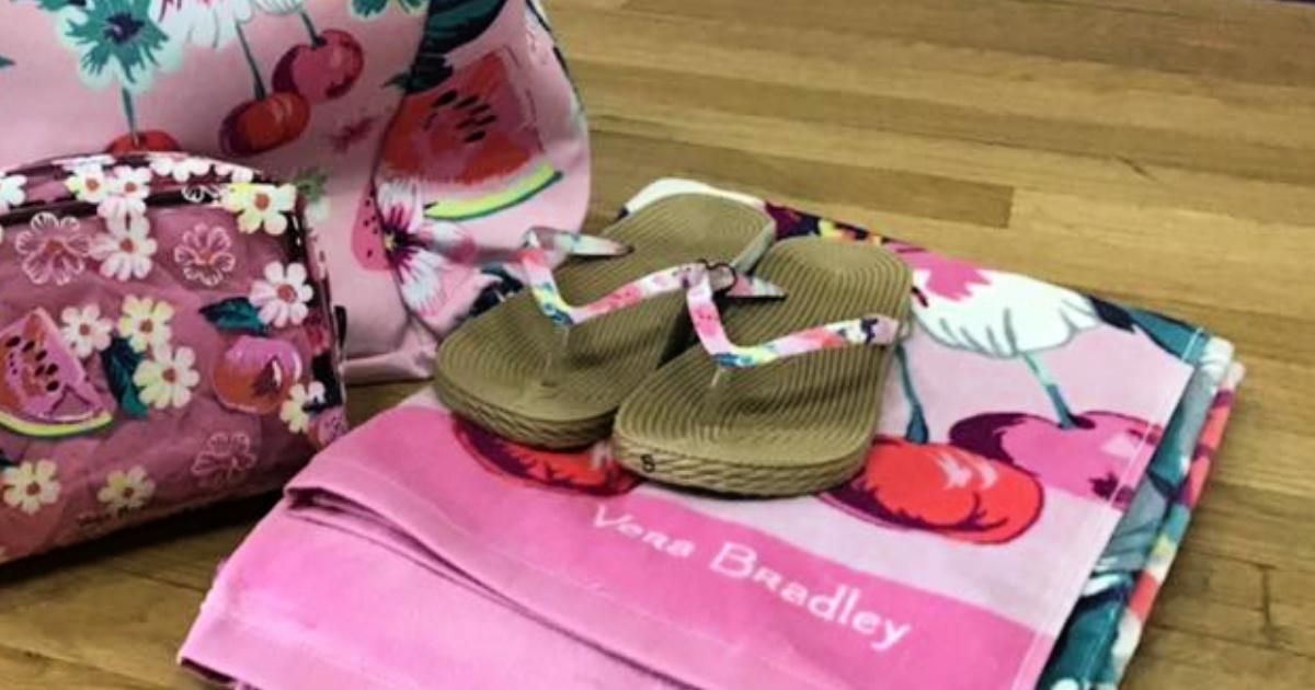 pink pair of Espadrille flip flops with vera bradley beach towel