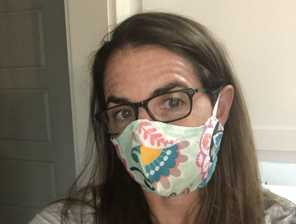 woman wearing a Vera Bradley mask