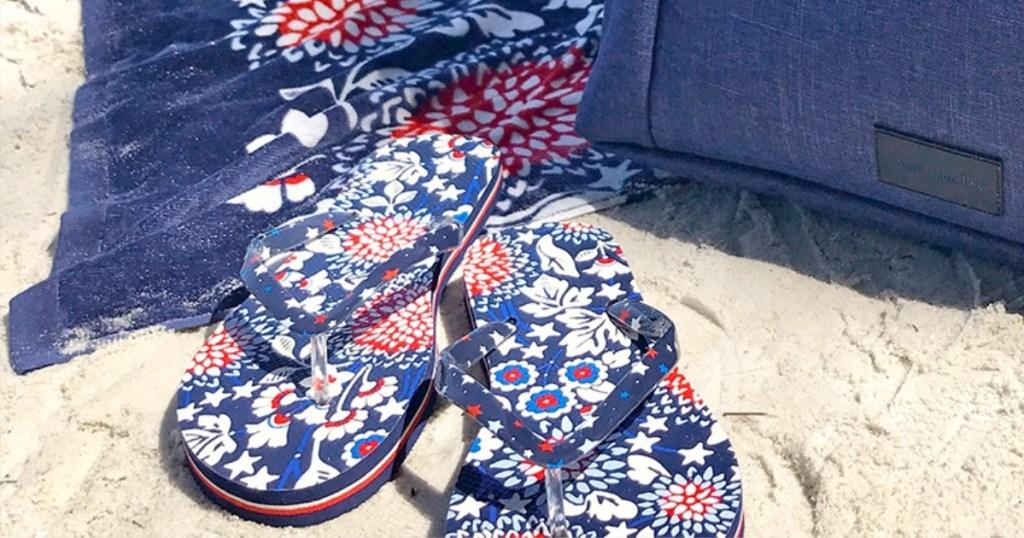 Vera Bradley Red White and Blue floral Flip Flops