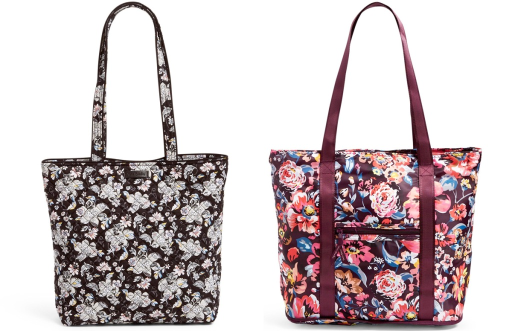 two black floral tote bags