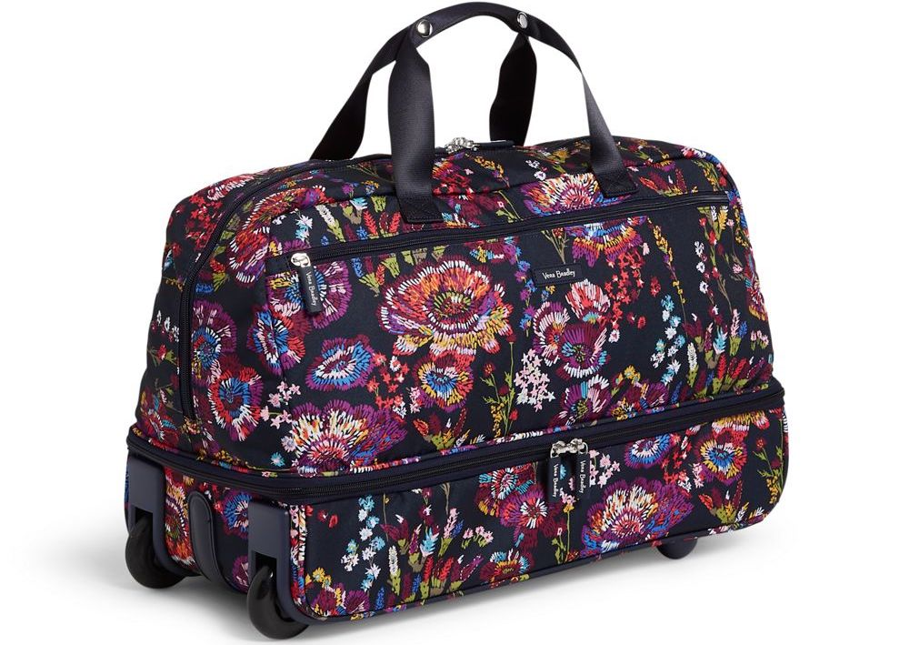 Vera Bradley wheeled carry-on bag with flowers on it