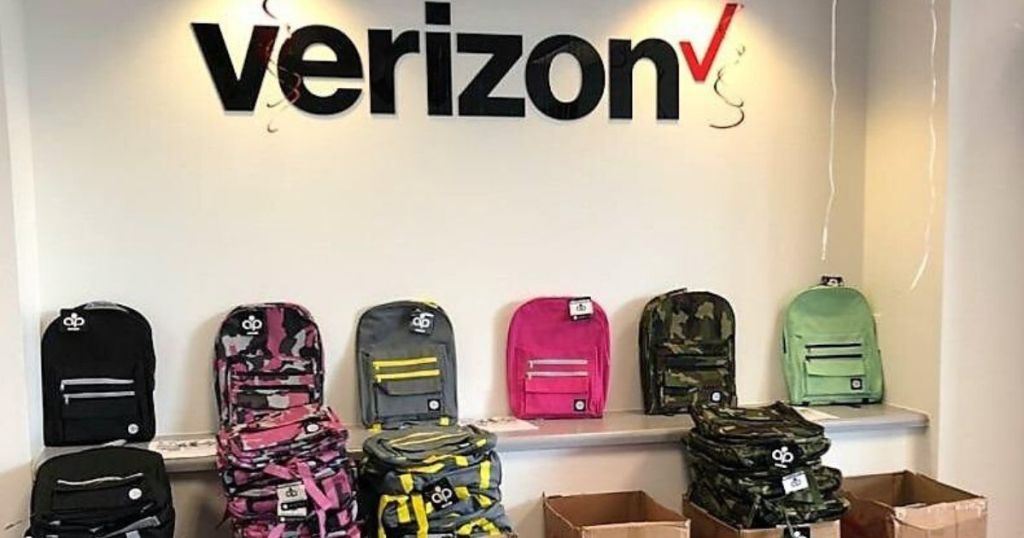 verizon store with backpacks