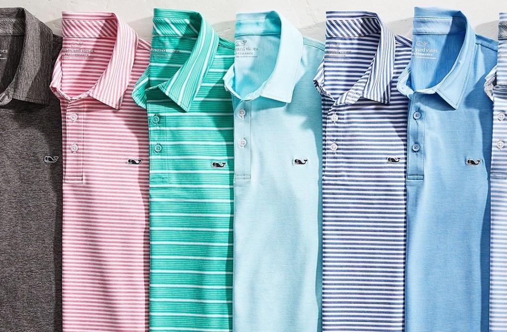 row of mens polo shirts