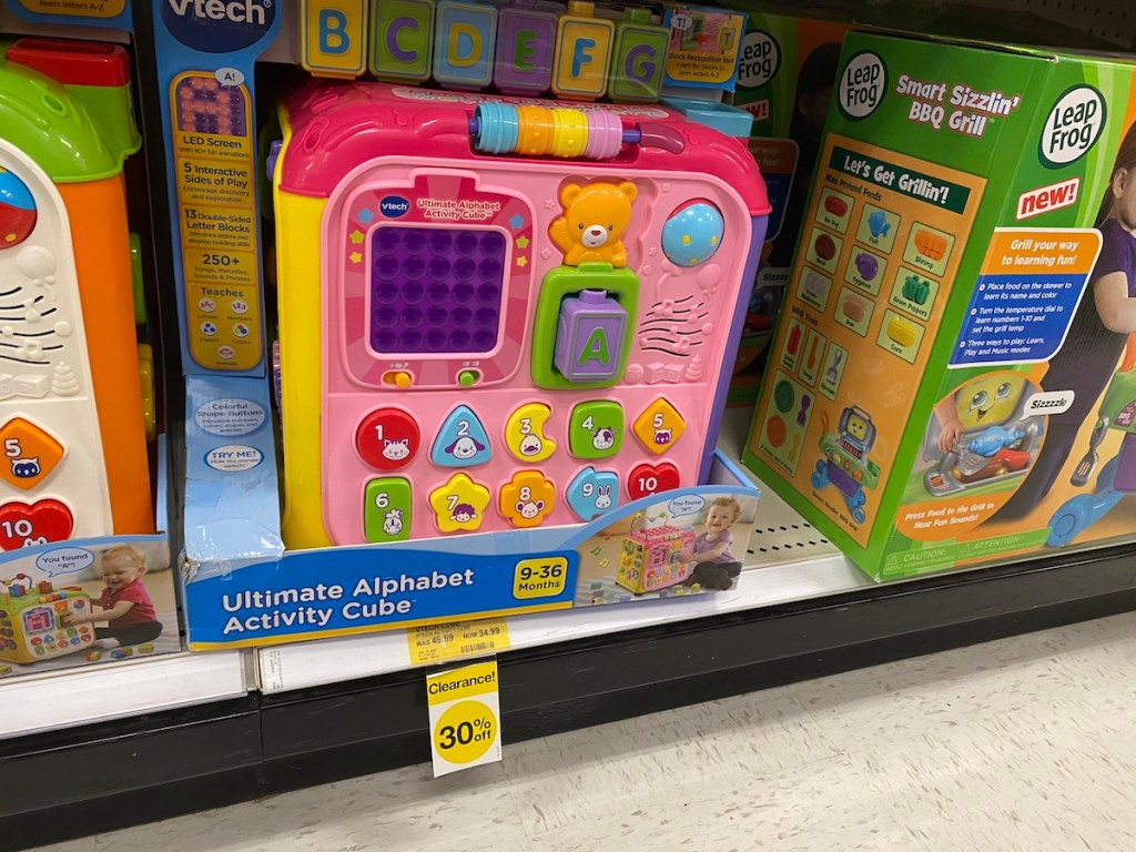 Vtech Activity Cube on target shelf