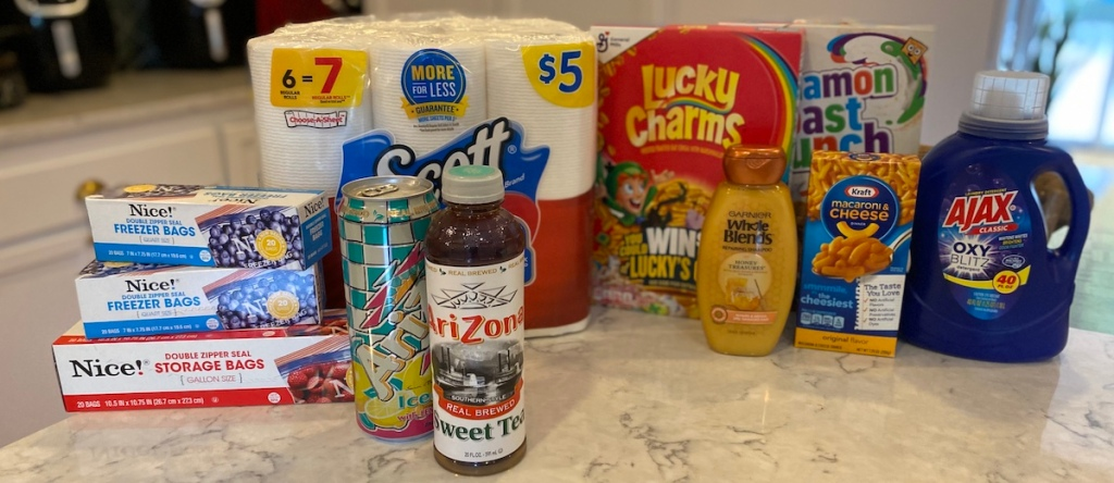 grocery items on kitchen counter