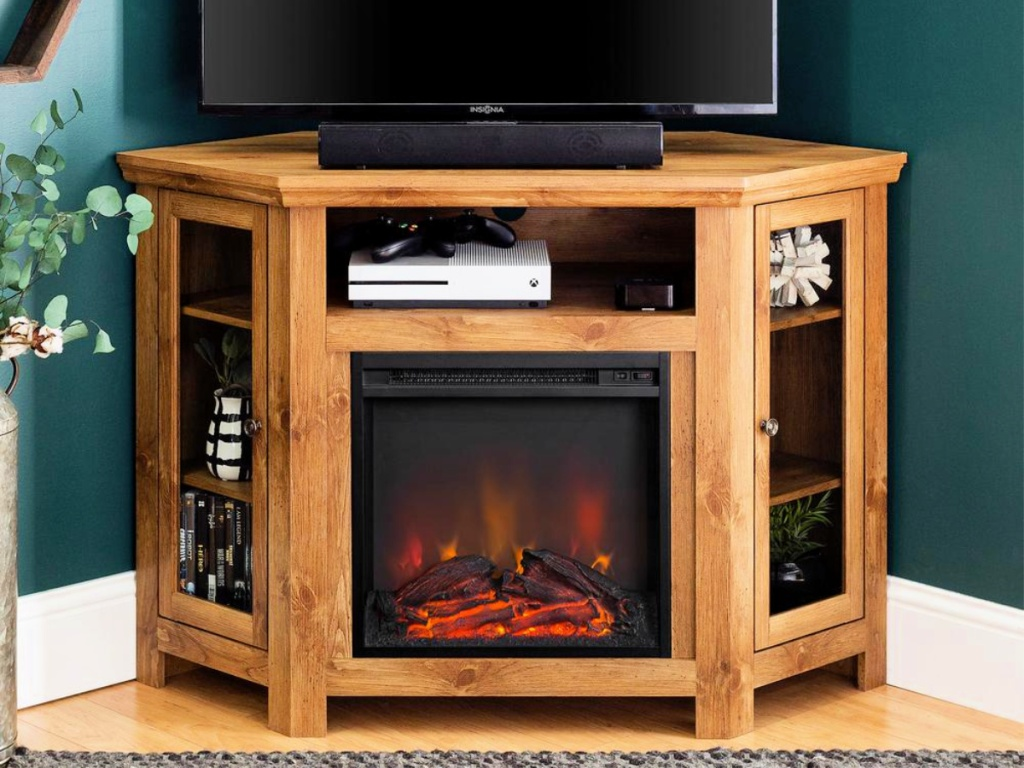 Walker Designs Barnwood Fire Place Entertainment Center with tv and game console