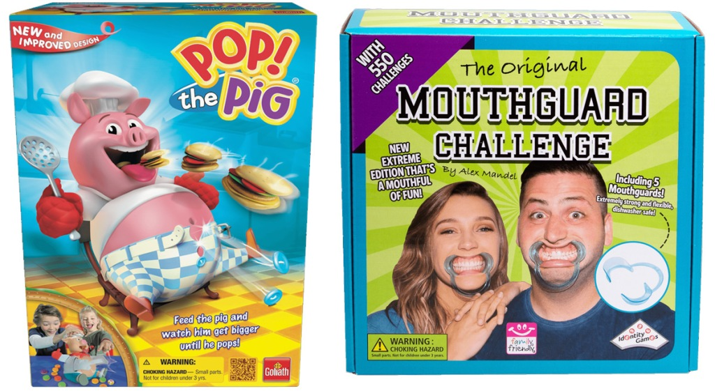 boxes for Pop The Pig and Mouthguard Extreme Challenge games