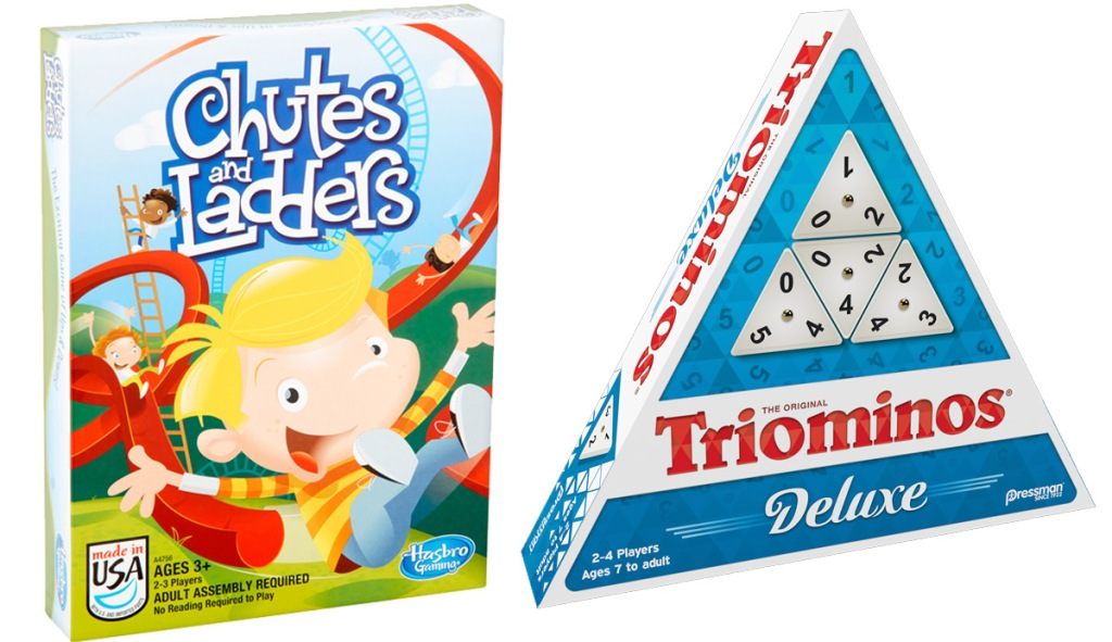 box for Chutes & Ladders board game and triangular box for Triominos game