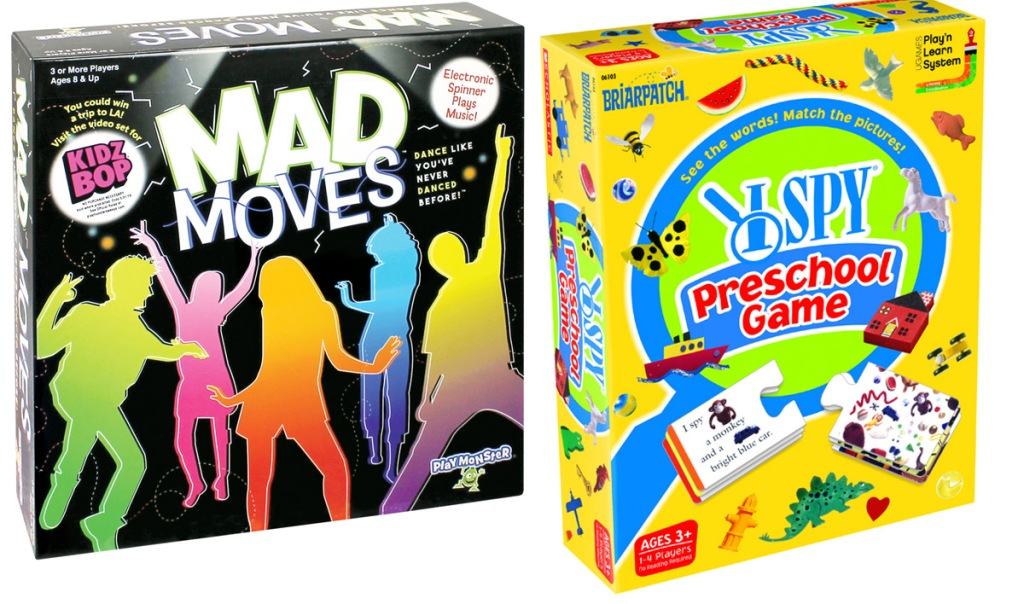 boxes for Mad Movies and I Spy Preschool games