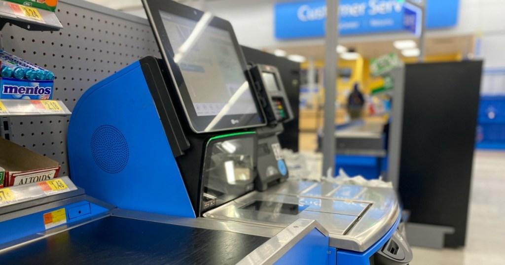 Walmart Self Checkout screen and conveyor belt