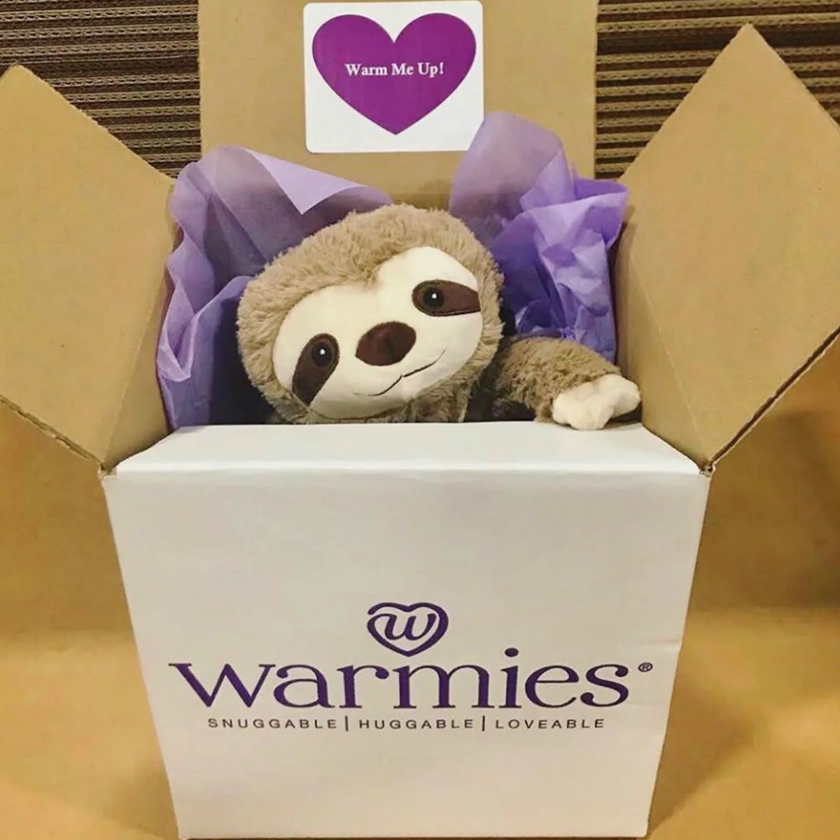 Plush sloth in a large shipping box with purple tissue paper