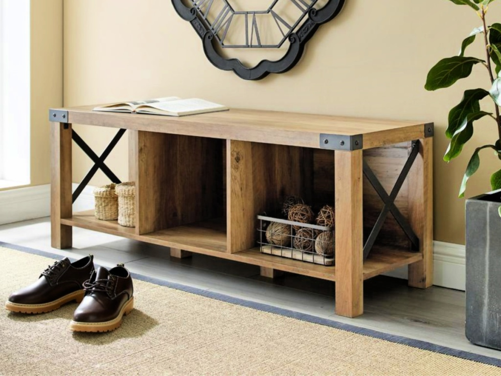 Welwick Designs Reclaimed Barnwood Rustic Farmhouse Wood & Metal Entry Bench